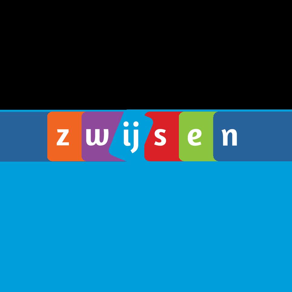 Logo Zwijsen (orange Z, purple w, light blue ij, red s, green e & dark blue n) -Breng leren tot leven (light blue)