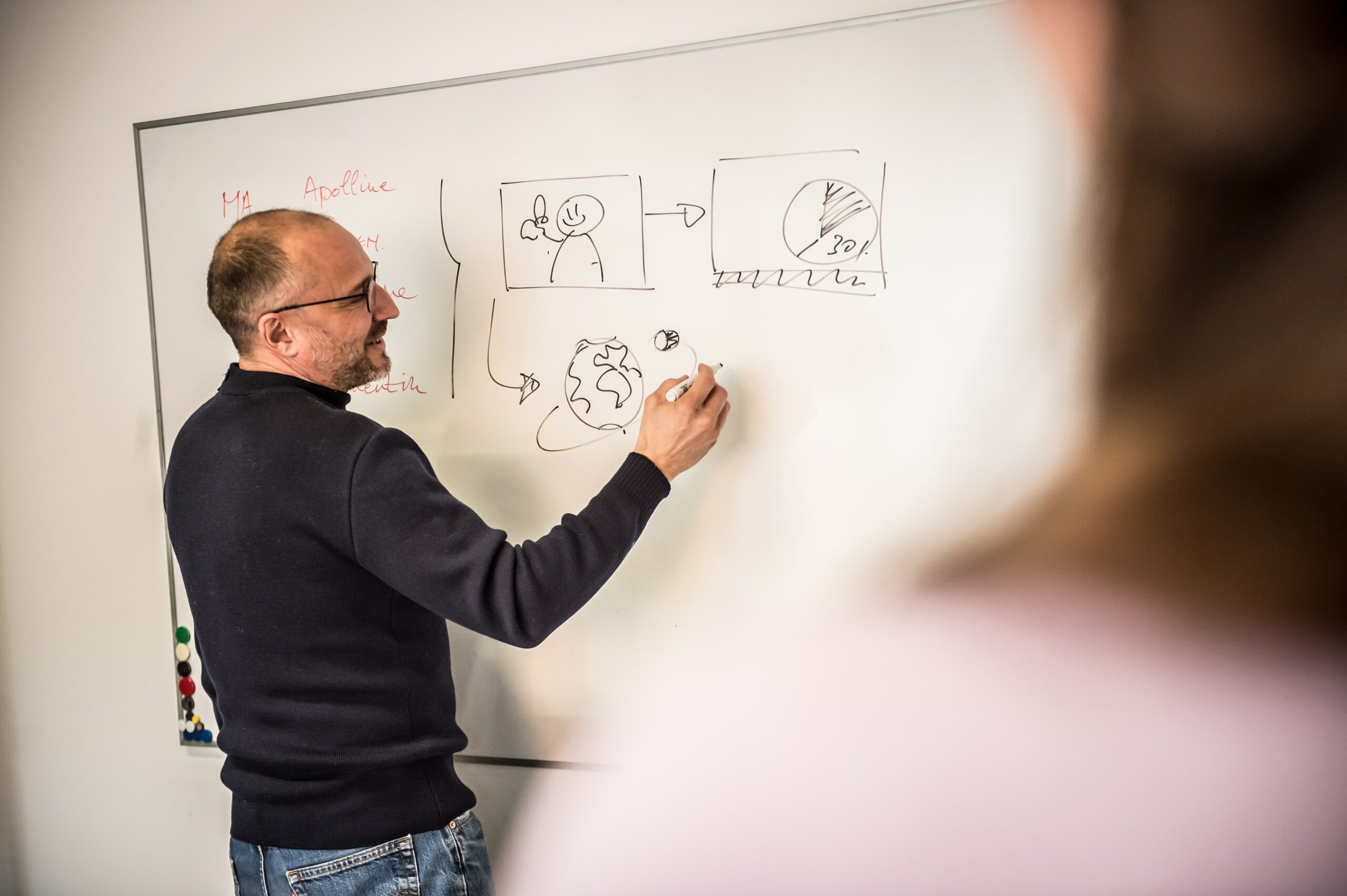 Picture of Quentin D'Haeye (Media Architect Beehived Media) drawing on a whiteboard