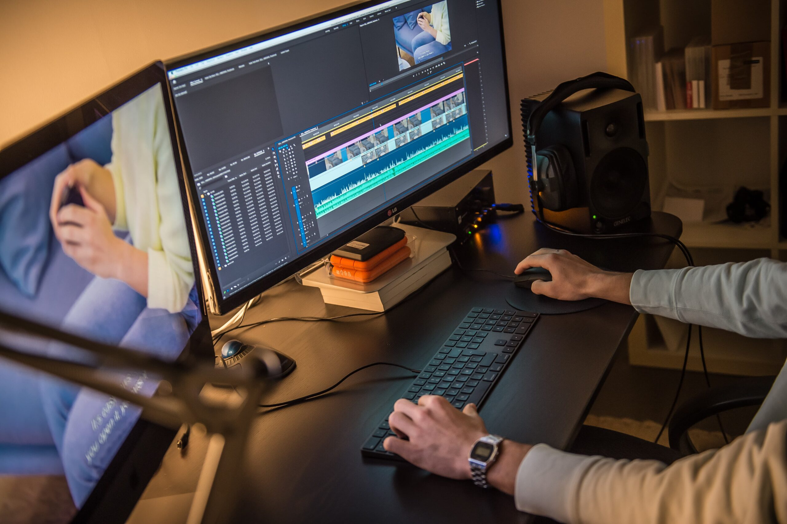 Picture of Beehived Media employee editing a video