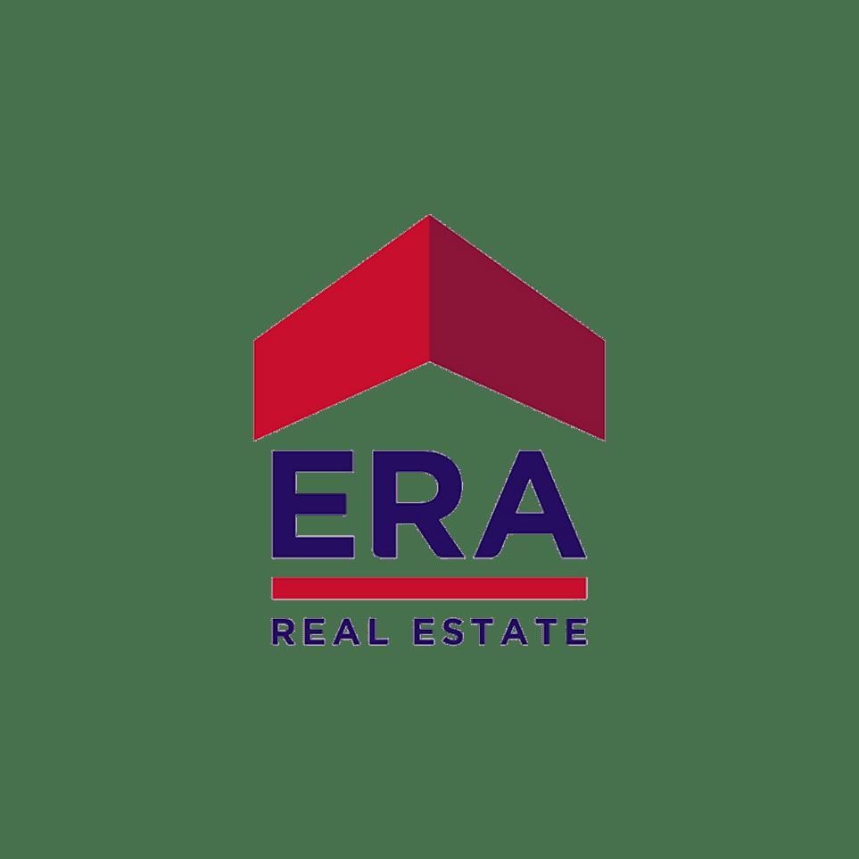 Logo ERA - Real estate (blue text & red elements)
