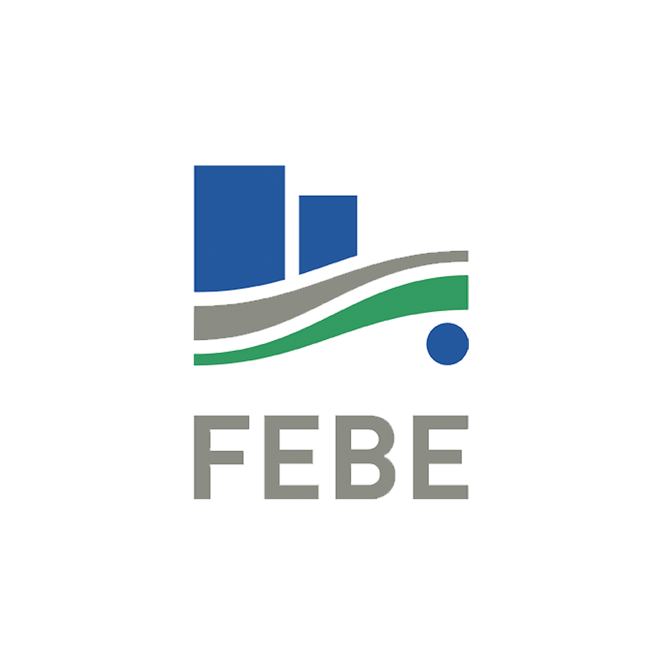 Logo FEBE (blue bars and waves)