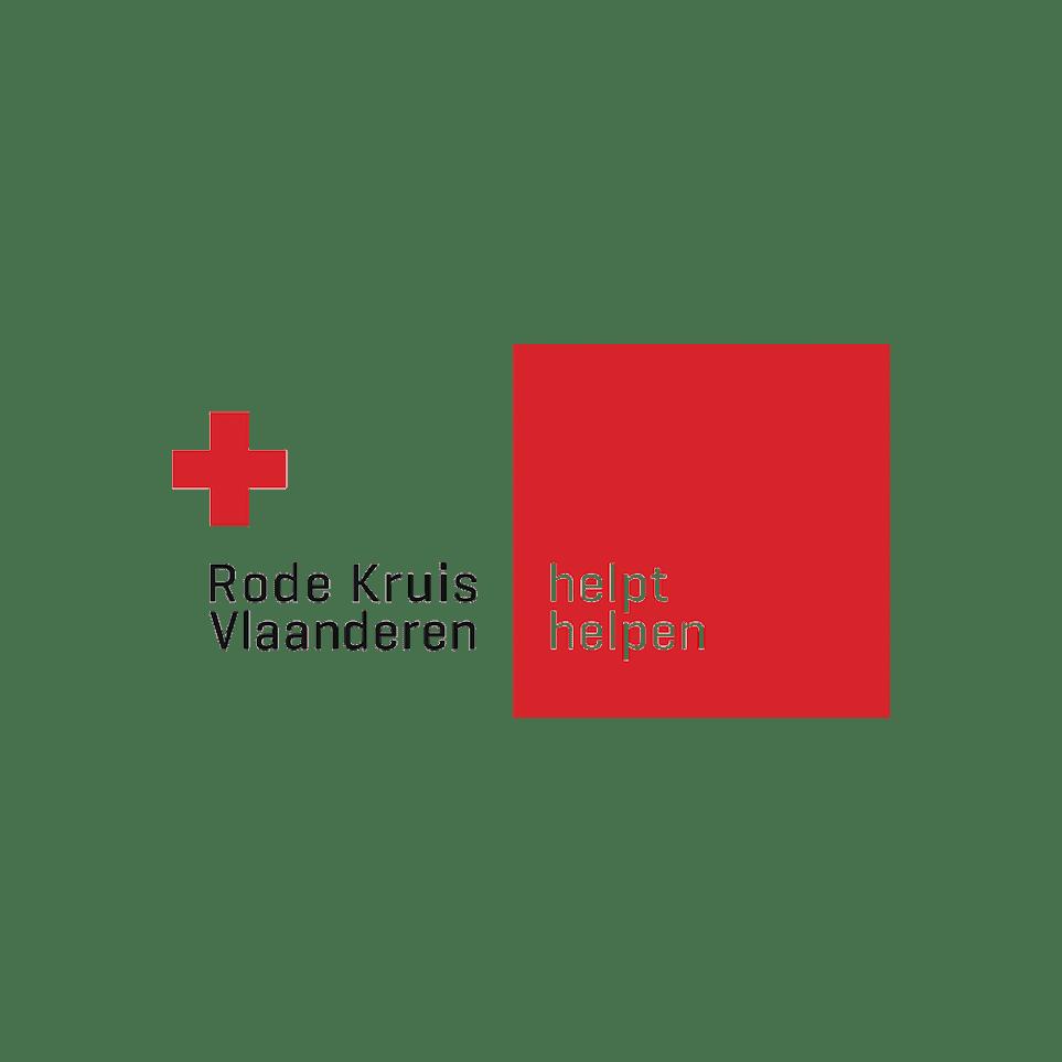 Logo Rode Kruis Vlaanderen (red cross above text) - Helpt helpen (in red box)